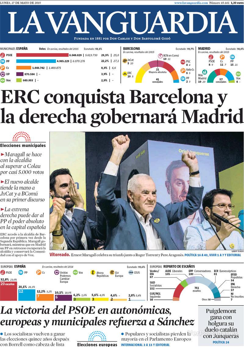 Portada La Vanguardia 2019-05-28