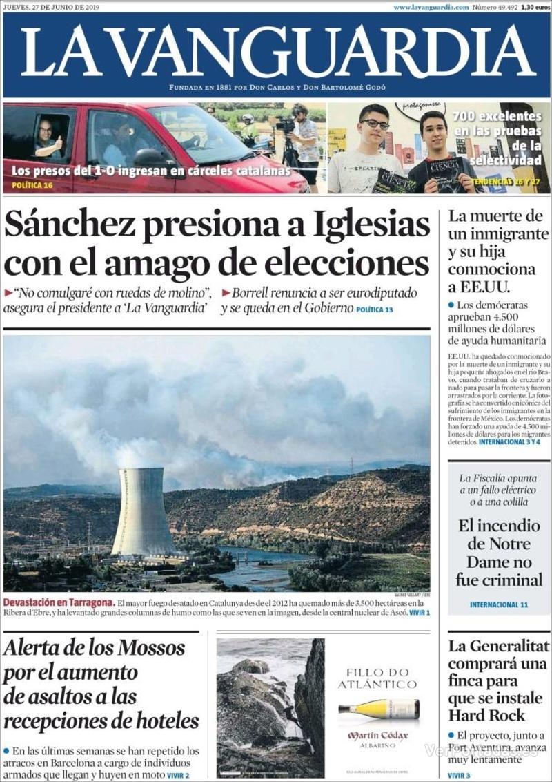 Portada La Vanguardia 2019-06-28
