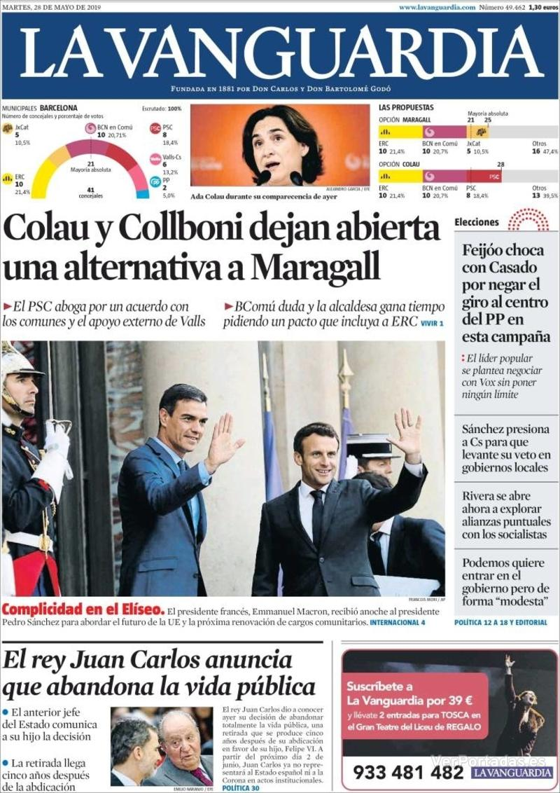 Portada La Vanguardia 2019-05-29