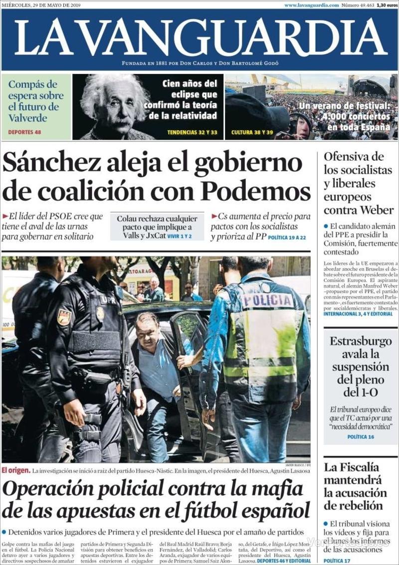 Portada La Vanguardia 2019-05-30