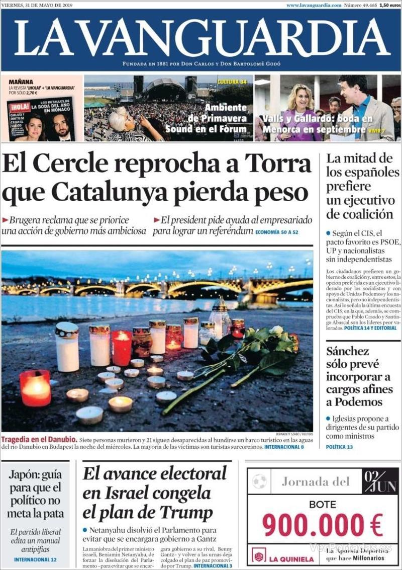 Portada La Vanguardia 2019-06-01