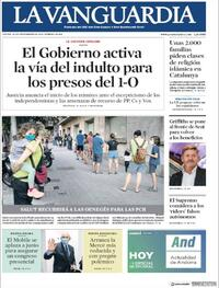 Portada La Vanguardia 2020-09-24