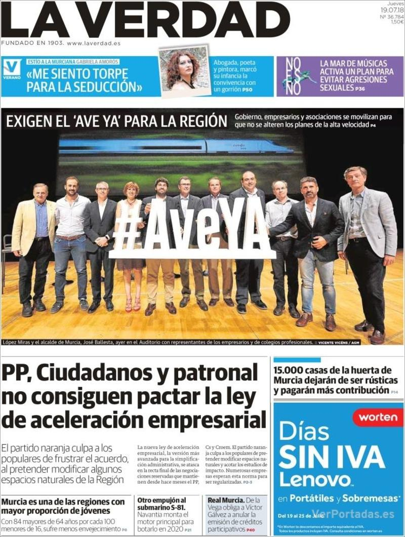 Portada La Verdad 2018-07-19