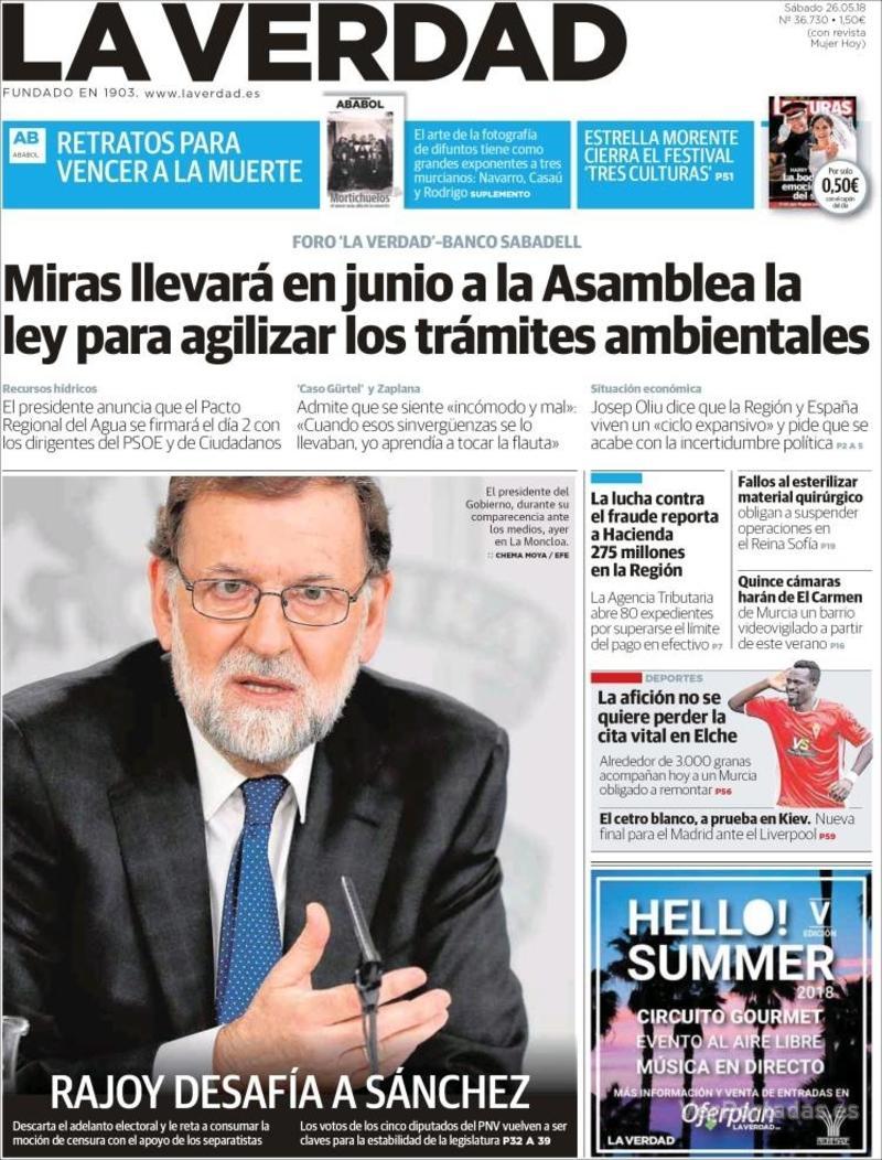 Portada La Verdad 2018-05-26
