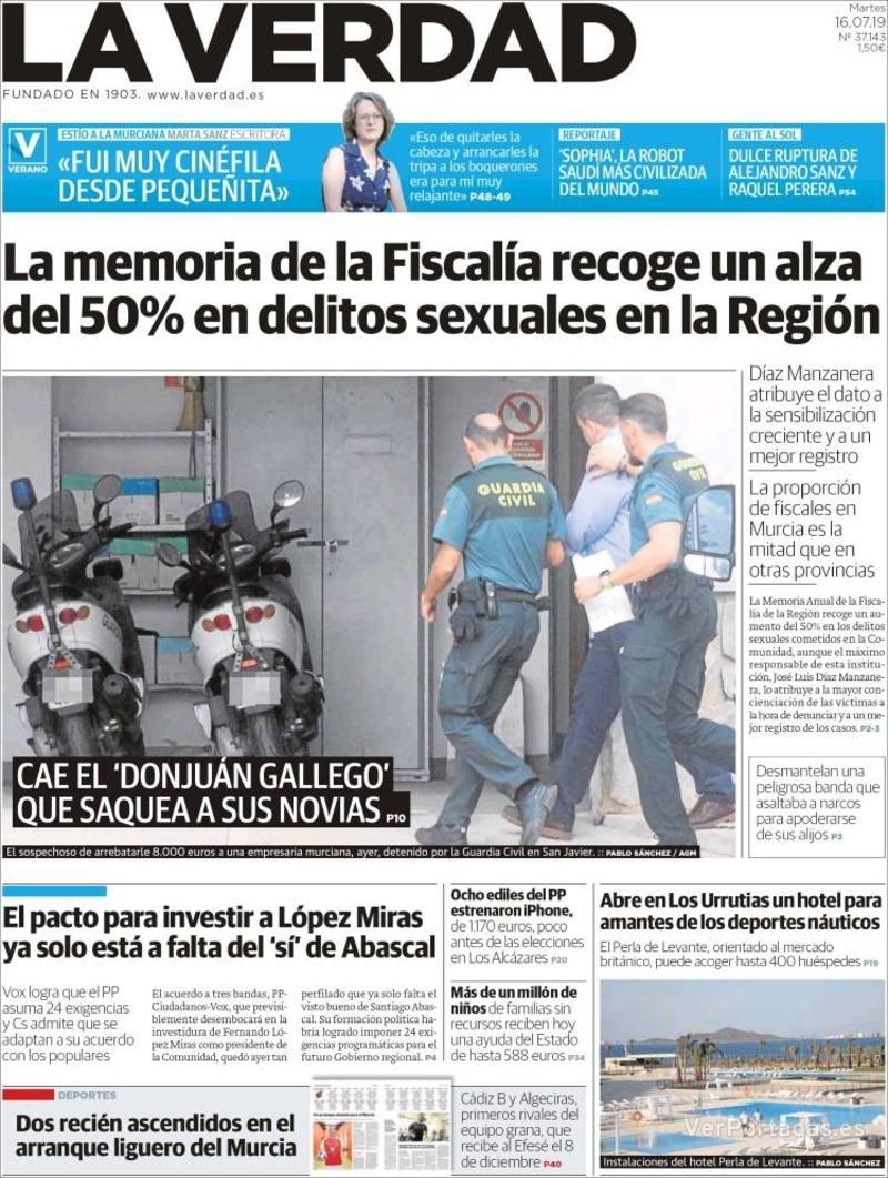 Portada Última Hora 2019-07-16
