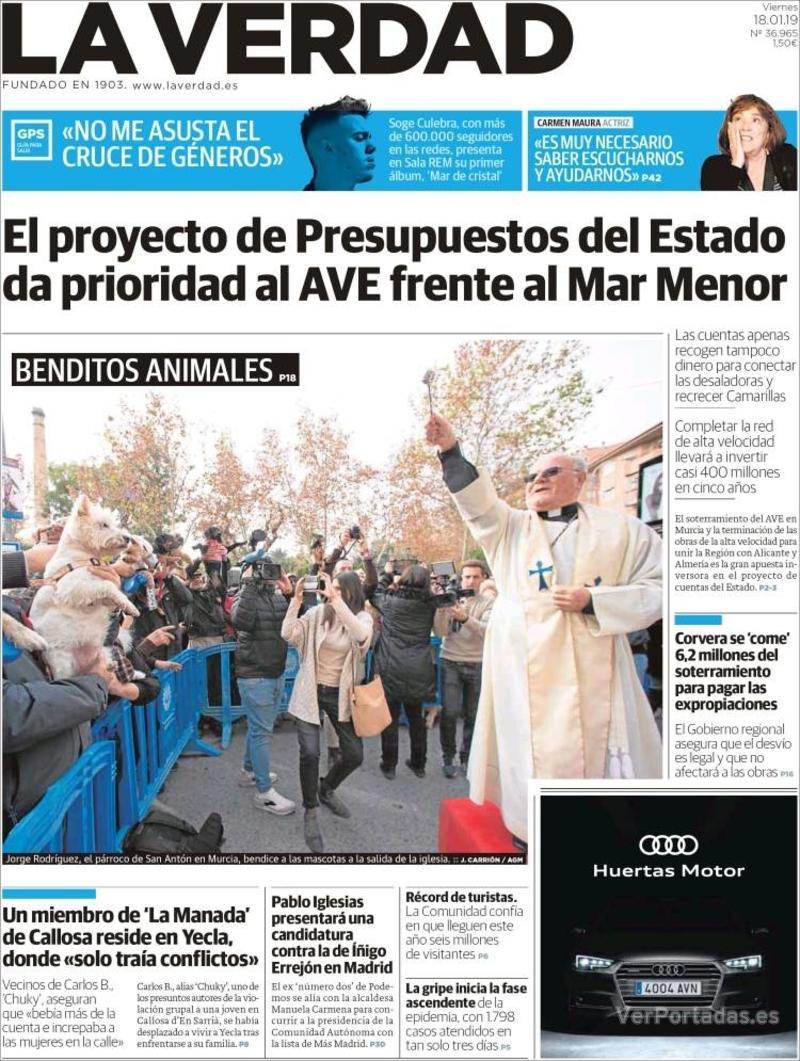 Portada La Verdad 2019-01-18