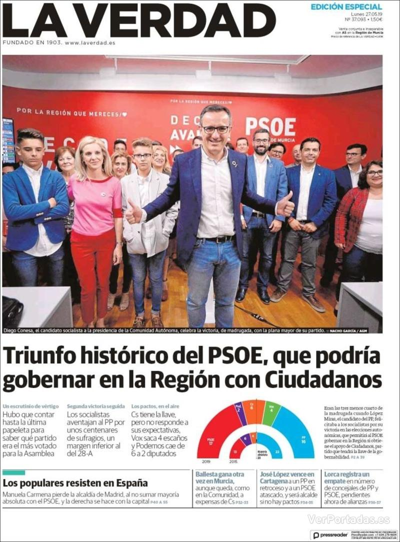 Portada La Verdad 2019-05-27