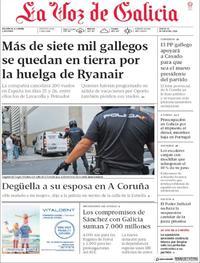 Portada La Voz de Galicia 2018-07-19