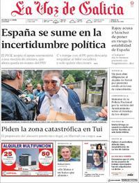 Portada La Voz de Galicia 2018-05-26
