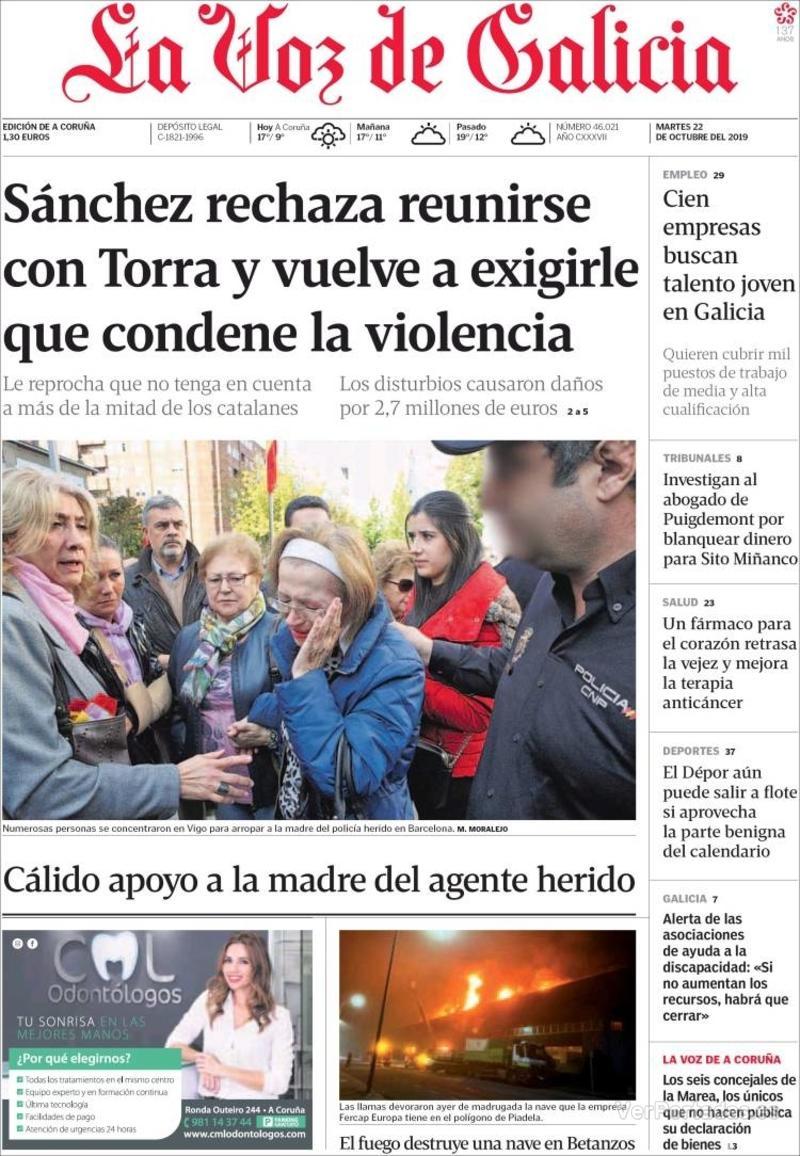 Portada La Nueva España 2019-10-22