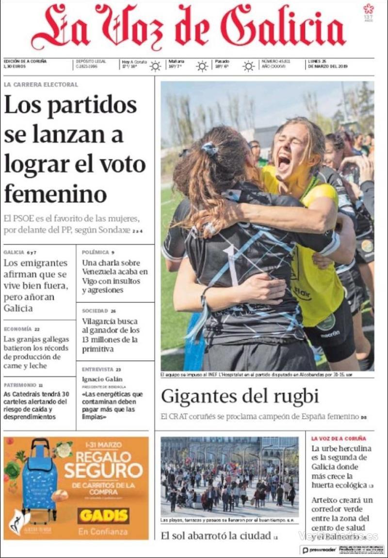 Portada La Voz de Galicia 2019-03-25
