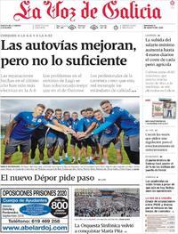 Portada La Voz de Galicia 2019-08-18