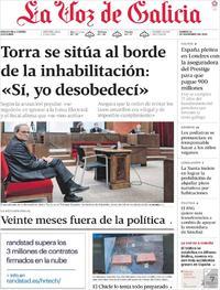 Portada La Voz de Galicia 2019-11-19
