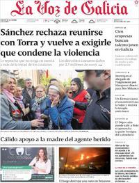 Portada La Voz de Galicia 2019-10-22