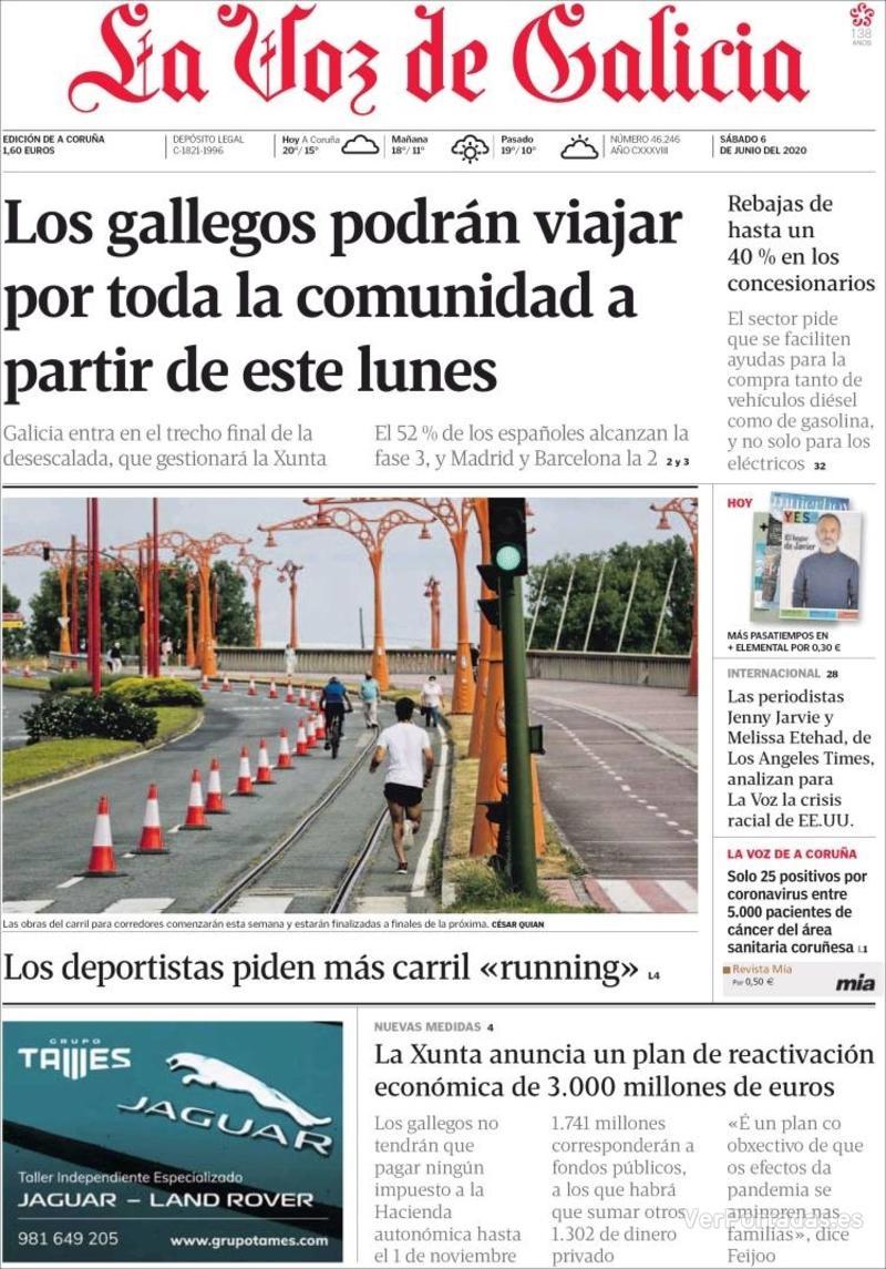 Portada La Nueva España 2020-06-06