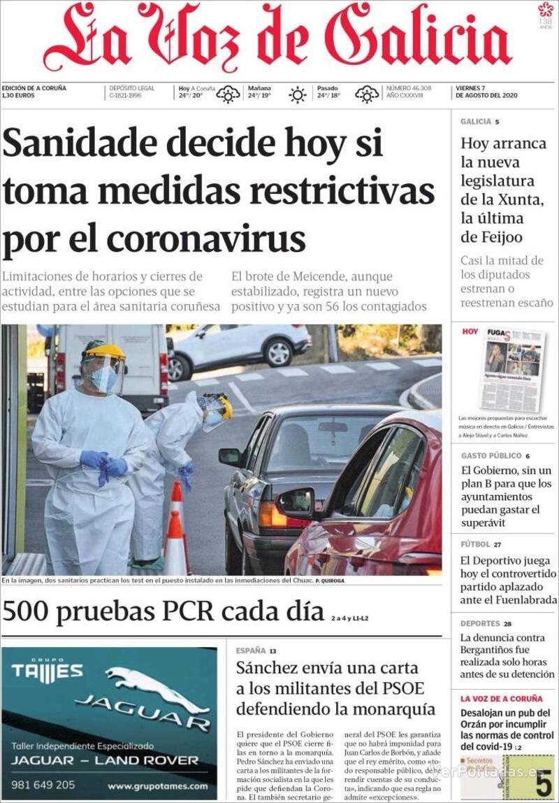 Portada La Nueva España 2020-08-07