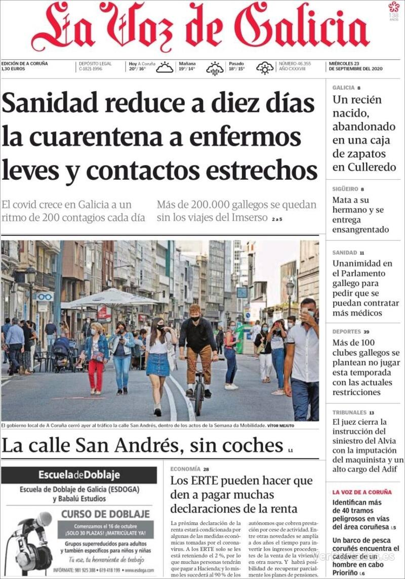 Portada La Nueva España 2020-09-23