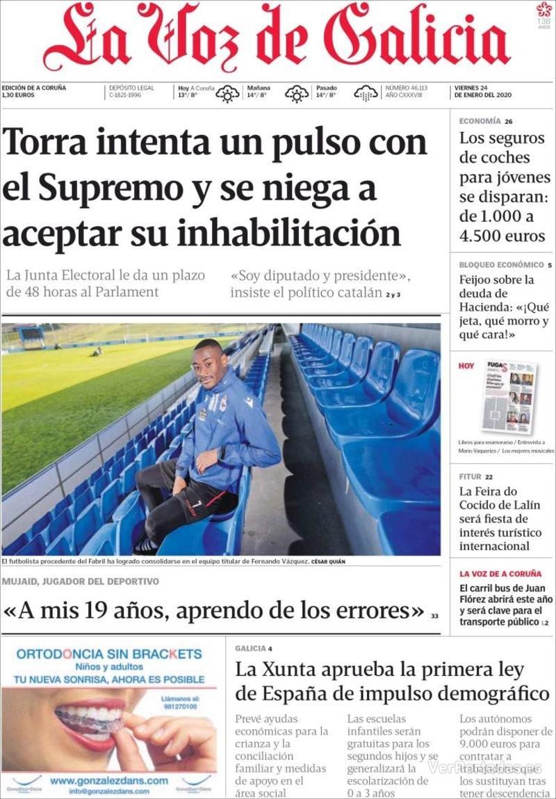 Portada La Nueva España 2020-01-24
