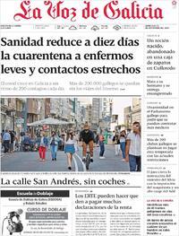 Portada La Voz de Galicia 2020-09-23