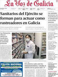 Portada La Voz de Galicia 2020-09-24