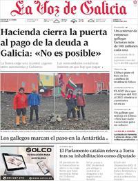 Portada La Voz de Galicia 2020-01-28