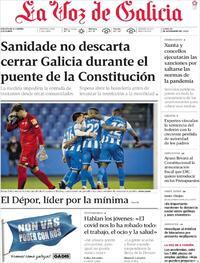 Portada La Voz de Galicia 2020-11-30