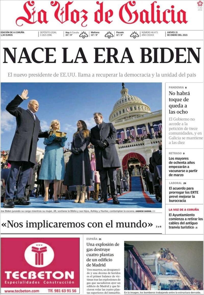 Portada La Nueva España 2021-01-21