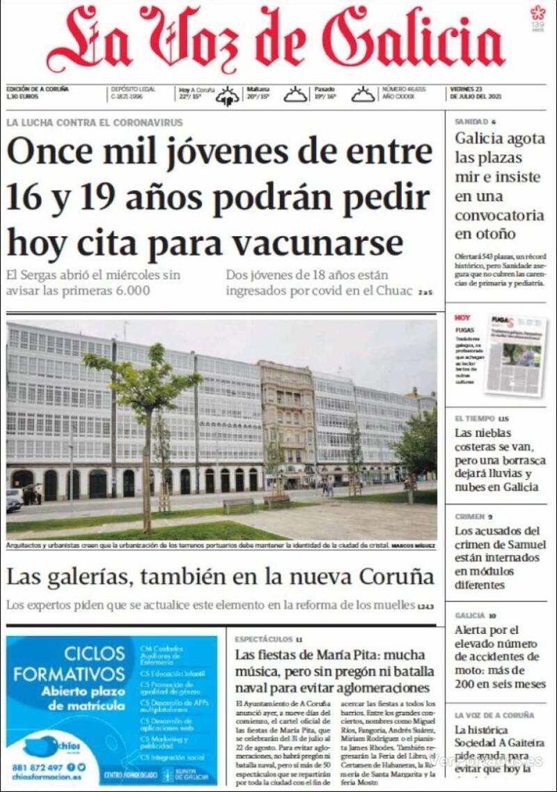 Portada La Nueva España 2021-07-23