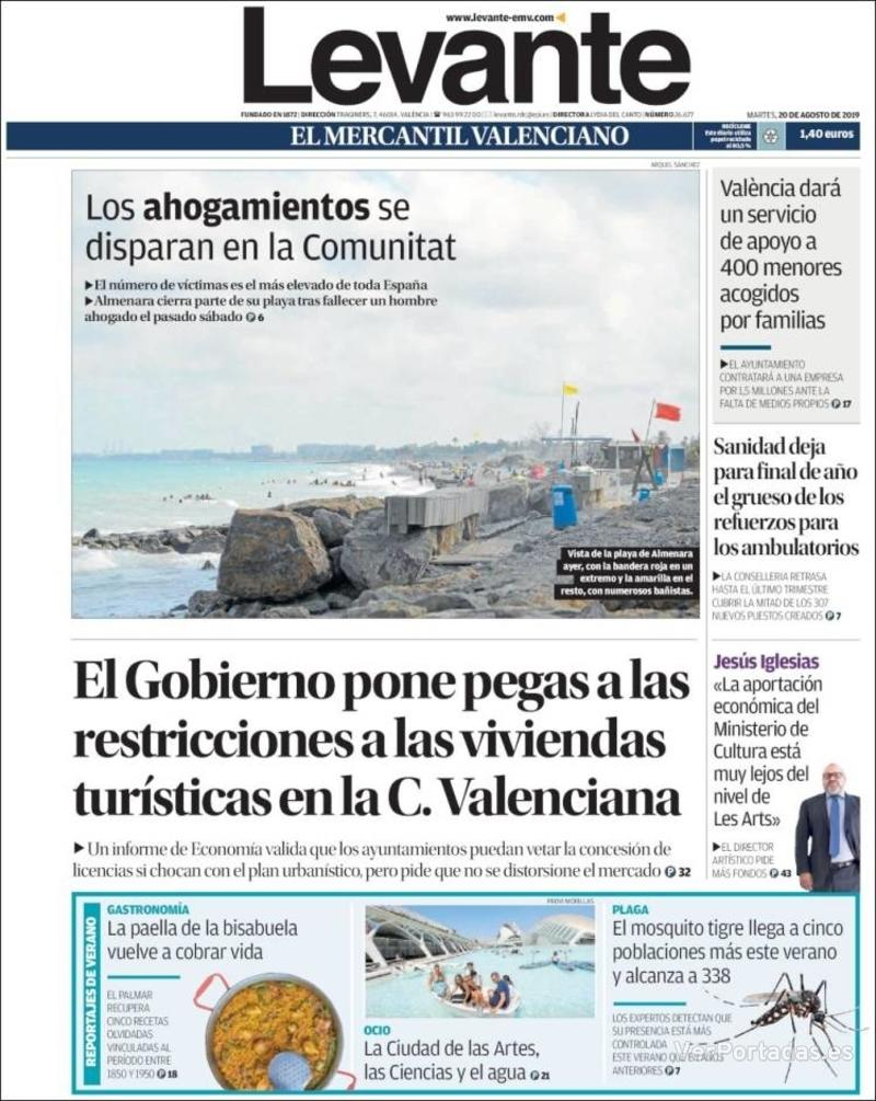 Portada Faro de Vigo 2019-08-20