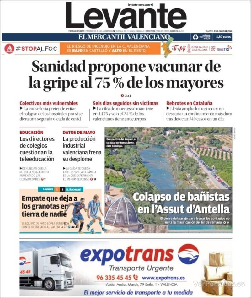 Portada Faro de Vigo 2020-07-07