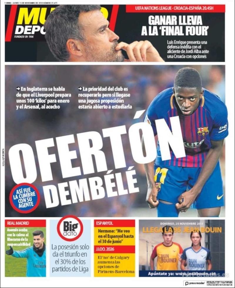 Portada Mundo Deportivo 2018-11-15