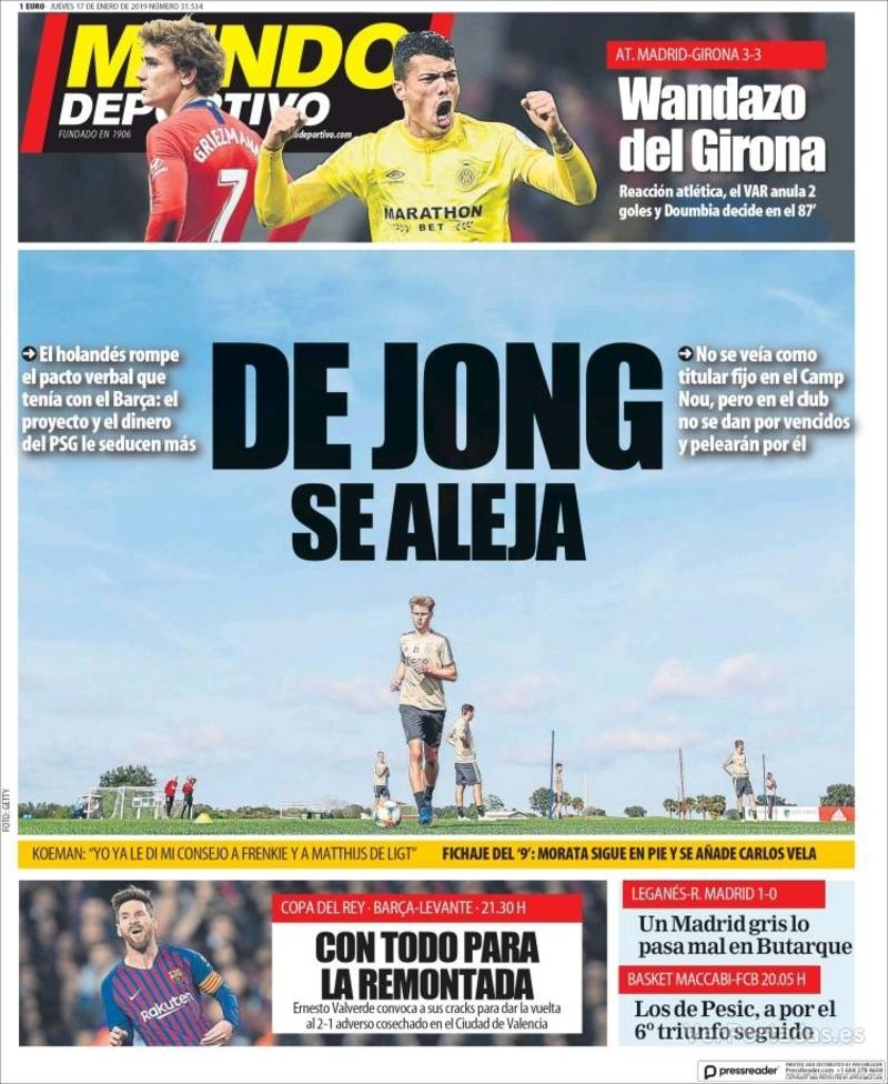 Portada Mundo Deportivo 2019-01-17