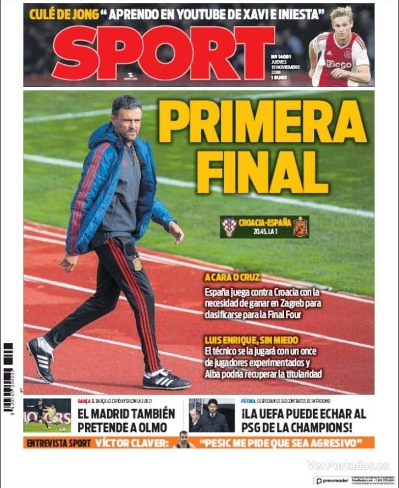 Portada Sport 2018-11-15