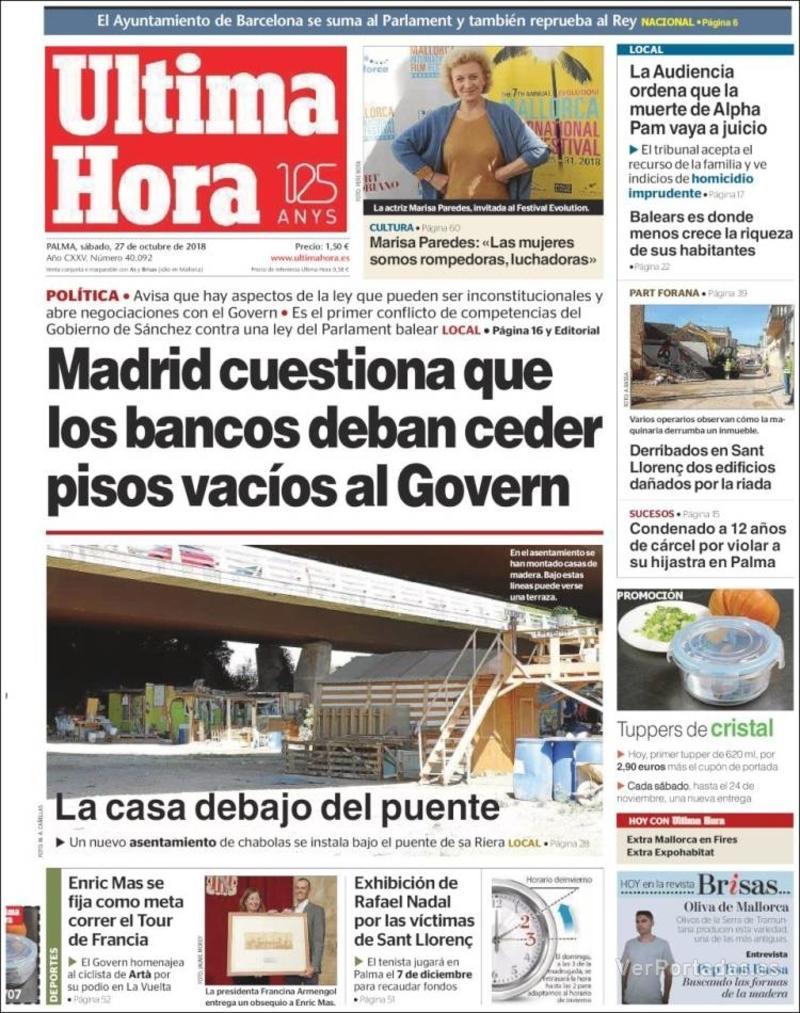 Periódico última Hora Edición De Sábado 27 De Octubre De 2018